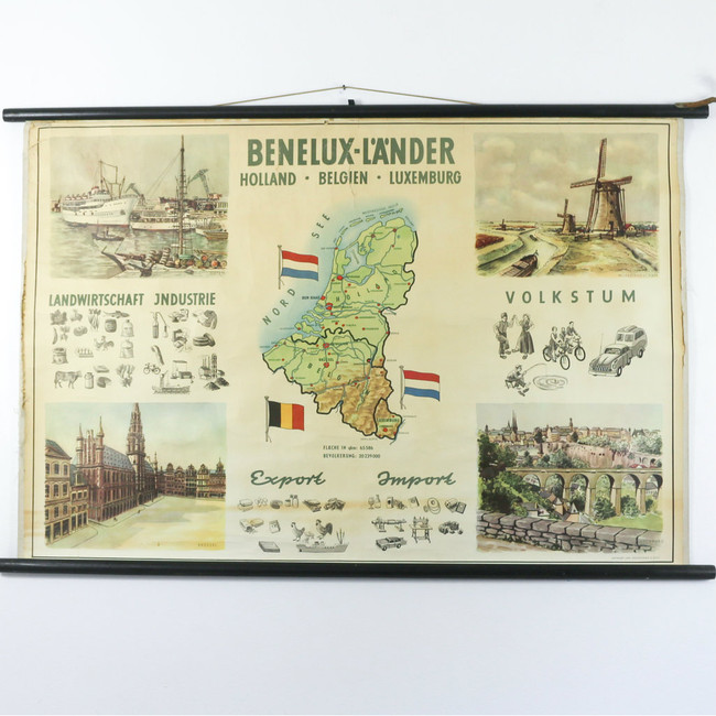Vintage Pull Down School Chart, Benelux