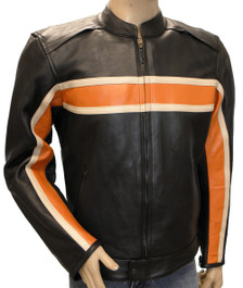 Men's Naked Leather Orange/Cream Stripe Jacket W/Armor