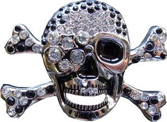 Silver Skull with Cross bones with Red and White diamonds