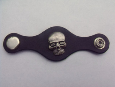 Leather Vest Extender with Skull