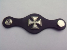Leather Vest Extender with Iron Cross