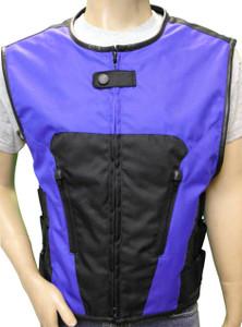 Men's Blue Textile Tactical Vest, 2 Zip Front and 2 Inside Pockets.