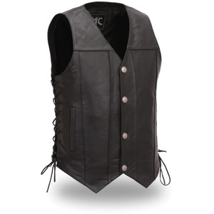 Men's Cowhide Vest with Laced Side