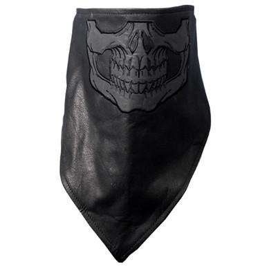 Neck Warmer Black Leather Skull Face Mask