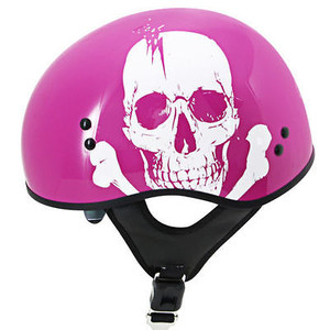 Pink Helmet With White Skull