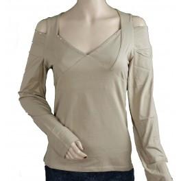 Ladies Long Sleeve with Open Shoulders and Rhinestones