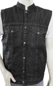 Black Denim Patch Holder Vest