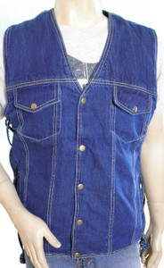 Blue denim vest.