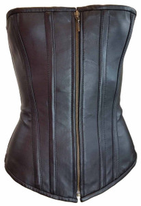 Black corset with front zipper.