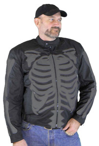 Men's Textile Jacket W/Black Reflective Skeleton & Armor