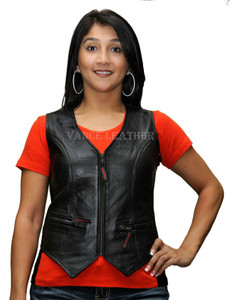 Ladies Milled Leather Zipper Vest W/Lace Sides