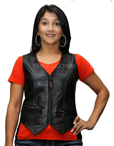 Ladies Milled Leather Zipper Vest W/Lace Sides