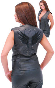 Black Wings Leather Vest with Studs for Women
