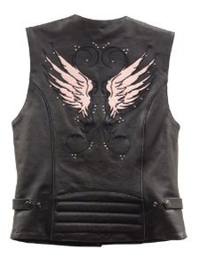 Pink Wings Leather Vest with Studs for Women