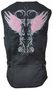 Ladies Textile Vest W/Pink Reflective Wings & Embroidery