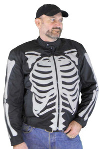 Men's Textile Jacket W/Gray Reflective Skeleton & Armor
