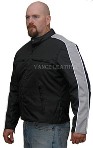 Men's Textile Jacket W/ Gray Stripe Down Sleeve