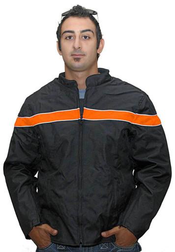 Men's Textile Jacket W/ Orange Stripe & Reflective Piping