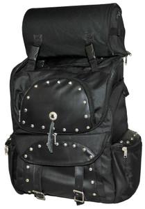 Large studded backpack sissy bar travel pack