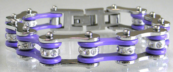 Two Tone Stainless Steel Bracelet, Silver/Purple W/White Crystal Centers