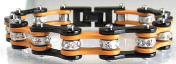 Two Tone Stainless Steel Bracelet, Black/Orange W/White Crystal Centers