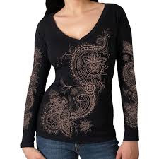 Lace Pattern Ladies Long Sleeve Tee
