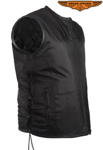 Mens Nylon Textile Vest With Leather Trim & Gun Pocket