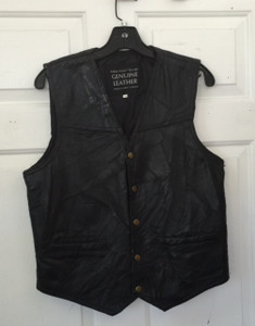 Italian Stone Patch Black Leather Vest