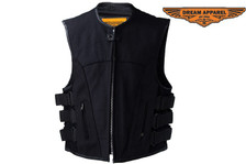 Mens Canvas Motorcycle Vest With Two Gun Pockets