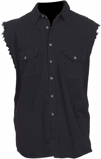 Black Cutoff Button-up/Collar