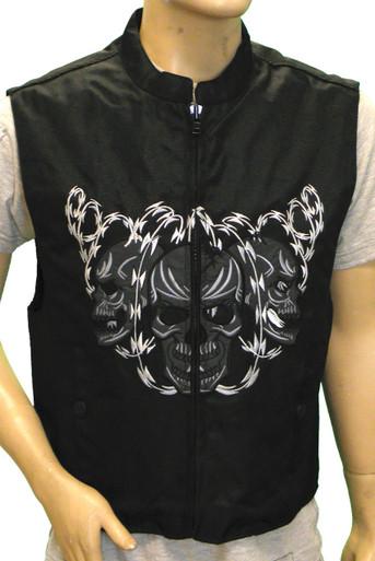 Men's Textile Vest W/Reflective Skull