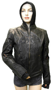 Ladies Leather Jacket W/Black Embroidery & Removable Sweatshirt