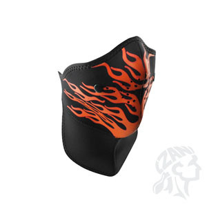 Neo-X Face Mask, Removable Filter & Nk Shld, Red Flames