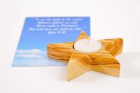 Star of Bethlehem (5 Points) Olive Wood Candle Holder