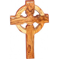 "Large Wall Cross Celtic Olive Wood Catholic Cross 10"" Hanging Catholic Decor NEW"