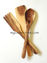 Beautifully Grained Olive Wood Salad Servers & Spatula