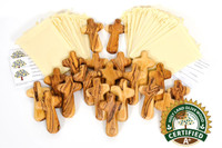 100  A+ Certified Olive Wood Comfort / Holding Cross Wedding Cross ($4.00 Each)