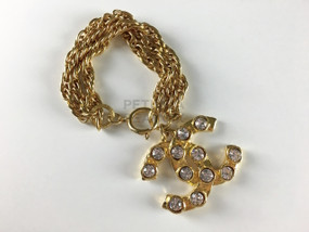 CHANEL RARE CC LOGO BRACELET WITH CRYSTALS
