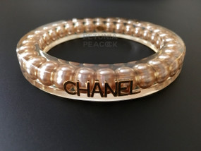 CHANEL CREAMY PEARL FILLED LUCITE BANGLE BRACELET