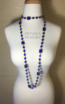 CHANEL COBALT BLUE CHICKLET SAUTOIR NECKLACE