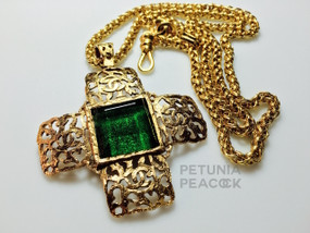 CHANEL GREEN GRIPOX MALTESE CROSS NECKLACE