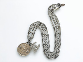 CHANEL COCO COIN & CC LOGO CHARM NECKLACE