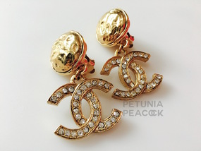 CHANEL CRYSTAL & HAMMERED BUTTON CC LOGO EARRINGS