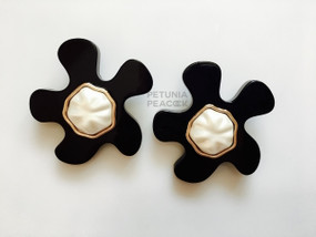 CHANEL LUCITE & FAUX PEARL PUZZLE PIECE EARRINGS