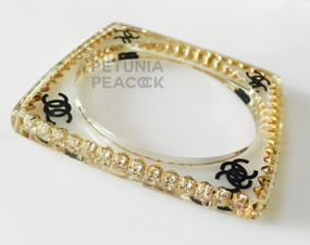 CHANEL SQUARE LUCITE CRYSTAL LOGO BANGLE BRACELET