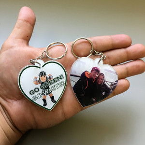 Double-Sided Photo Keychains-Heart