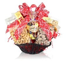 Everything is bigger in Texas and this basket is no exception! austiNuts Large Star Wire Basket is a fantastic option for an individual, household or office and includes a variety of items that all can enjoy!  Contains: Honey Sesame Peanuts, Cashews, Pistachios, Praline Pecans, South of the Border Mix, Toblerone Chocolate, Godiva Biscuits, Gourmet Chocolate Mix (Pastel Chocolate Apricots, Blueberries & Cherries, and Lemon Blueberry Shortbread), Guylian Chocolates, Yogurt Pretzels, Manner Cream Filled Wafers, Cocoa Amore Gourmet Mix, Coffee Masters Gourmet Coffee, & David Rio's Chai Tea