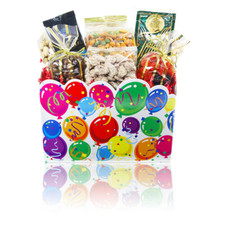 "austiNuts Celebration Gift Box is perfect when you want to say """"You Did It!"""" in a special way!  Contains: Cashews, Pistachios, Praline Pecans, Smoked Almonds, South of the Border Mix, German Raspberries, Chocolate Raisins & Peanuts, Coffee Masters Gourmet Coffee & Gourmet Village Iced Tea Mix"