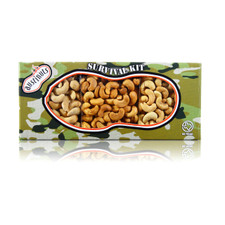 austiNuts Cashewmania Camo Survival Kit is filled with Delicious Gourmet Dry Roasted Salted Cashews, Garlic Cashews & Cayenne Cashews