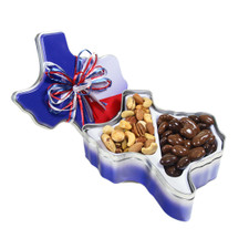 austiNuts Texas Collectible Tin are great for nut and chocolate lovers this is an excellant gift!  Contains: Deluxe Nut Mix, Salted (Dry Roasted), (Almonds, Cashews, Pecan Halves, Pistachios, and Macadamia Nuts). Gourmet Chocolate Mix, (Chocolate Covered Almonds, Macadamias, Pecans, Cashews, Walnuts)